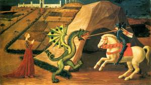 """He looks pretty 'armless."" (Painting ""St George and the Dragon"" by Paolo Uccello.)"