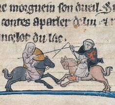 A nun and a monk, each on horseback,joust. The monk's lance is broken. Image from Yale Uni Library, Beinecke MS 229 100v.
