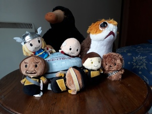 Cuddly toys of a Niffler, a Porg, Chewbacca, Thor, Captain Jean-Luc Picard, Geordi La Forge, Data, Worf and the Enterprise from Star Trek: the Next Generation