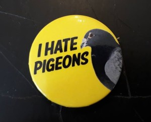 "Image of a badge reading ""I Hate Pigeons"""