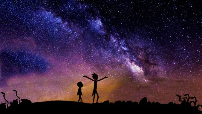 Silhouettes of Rick and Morty against a blue starry sky.