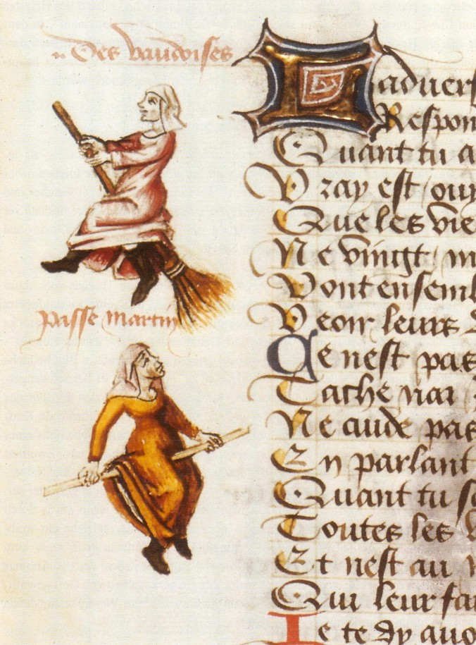 Medieval manuscript image of a two women riding brooms.