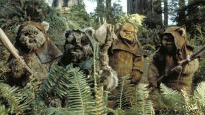 A group of Ewoks on their home moon, Endor, from Star Wars.