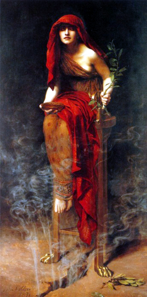Painting in Pre-Raphaelite style of the Delphic Oracle. She sits inhaling steam from a crack beneath her feet and wears red and orange robes.