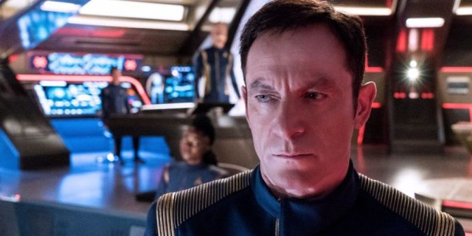 Close up of Jason Isaacs as Captain Lorca in Star Trek: Discovery
