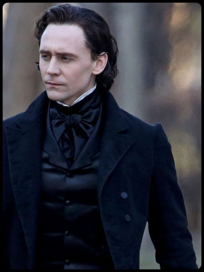 Tom Hiddleston in Victorian period dress on the set of the film Crimson Peak.